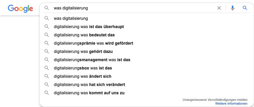 Vorschläge der Google-Suche zu